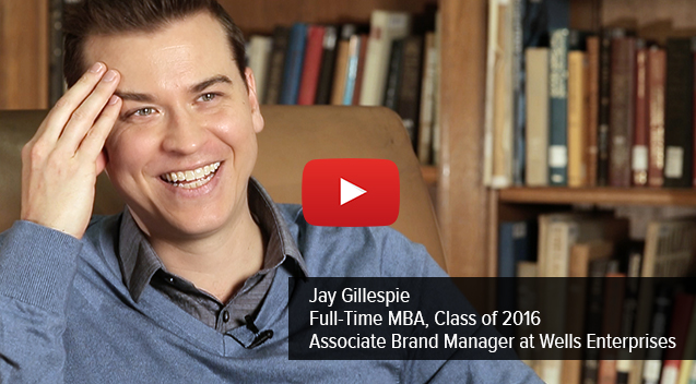 Jay Gillespie, 2016 MBA candidate, accepted an associate brand management position with Wells Enterprises.