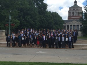 The Simon MBA Class of 2018 posed on the quad during orientation.