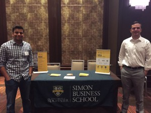 Gaurav Mittal and Bryan Carlo, rising second-year MBA students, assisted Jennifer Crandall, senior associate director of admissions, at a recruitment event in New York City in July.